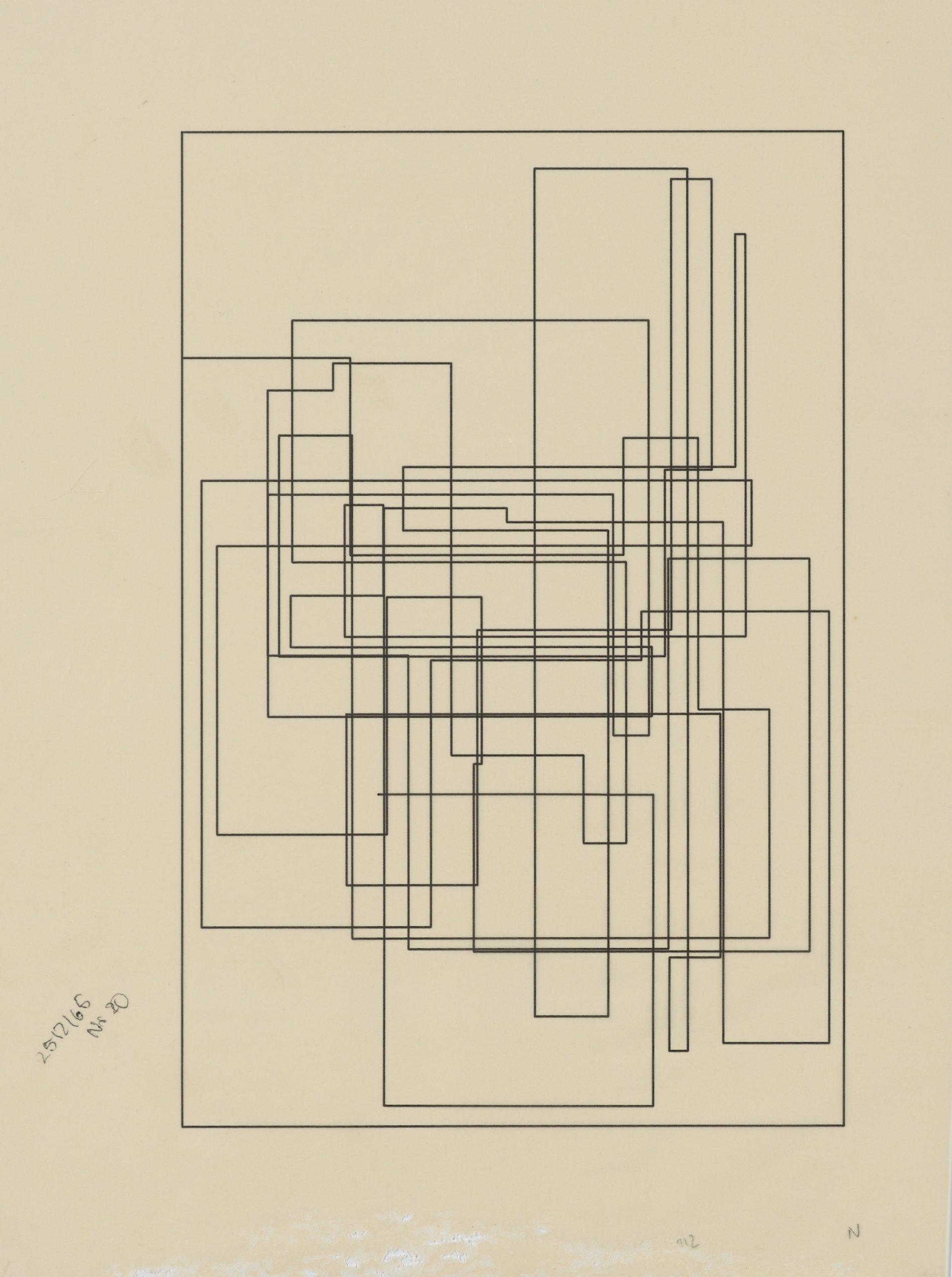 Frieder Nake, Plotterzeichnung, Tinte auf Papier, das Papier ist im unteren Bereich beschädigt, ausserhalb der Zeichnung, 30 x 20 cm, 1965, Preis: 3 500 Euro