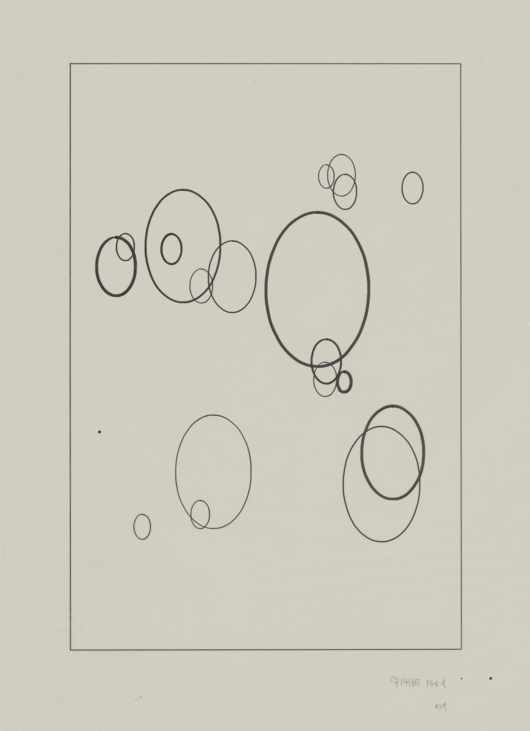 Frieder Nake, Plotterzeichnung, Tinte auf Papier, 30 x 20 cm, 1965, Preis: 4 000 Euro