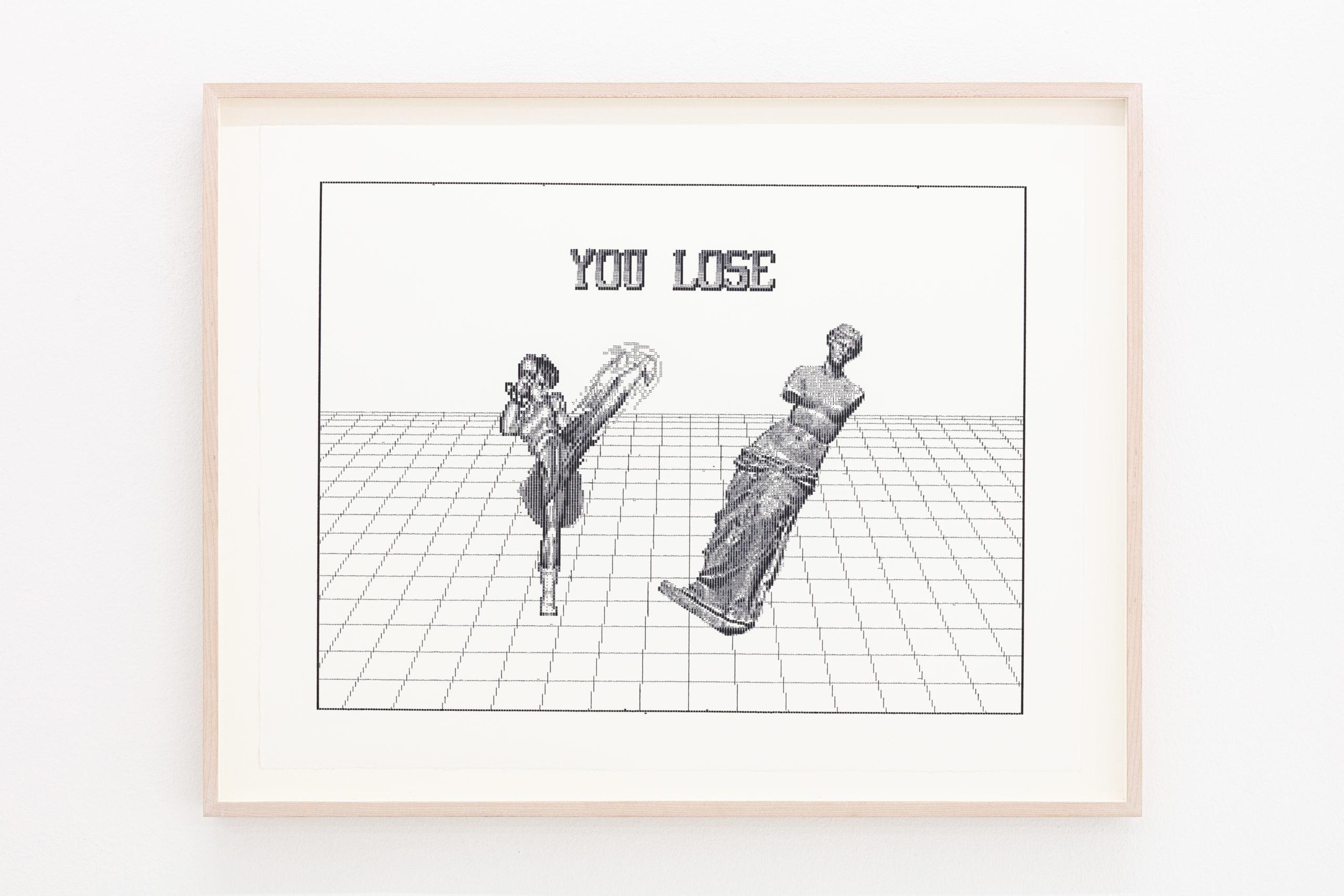 Arno Beck, Chun Li vs Venus, edition of 5, typewriter drawing on Alt Burgund paper, 53,5 x 60 cm, 2019