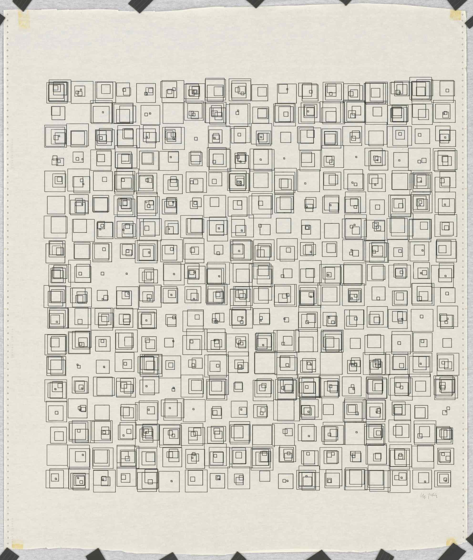 Vera Molnar, (Des)Ordres Serie, Plotterzeichnung, Tinte auf Papier, 70 x 70 cm, 1974, Preis: 18 000 Euro
