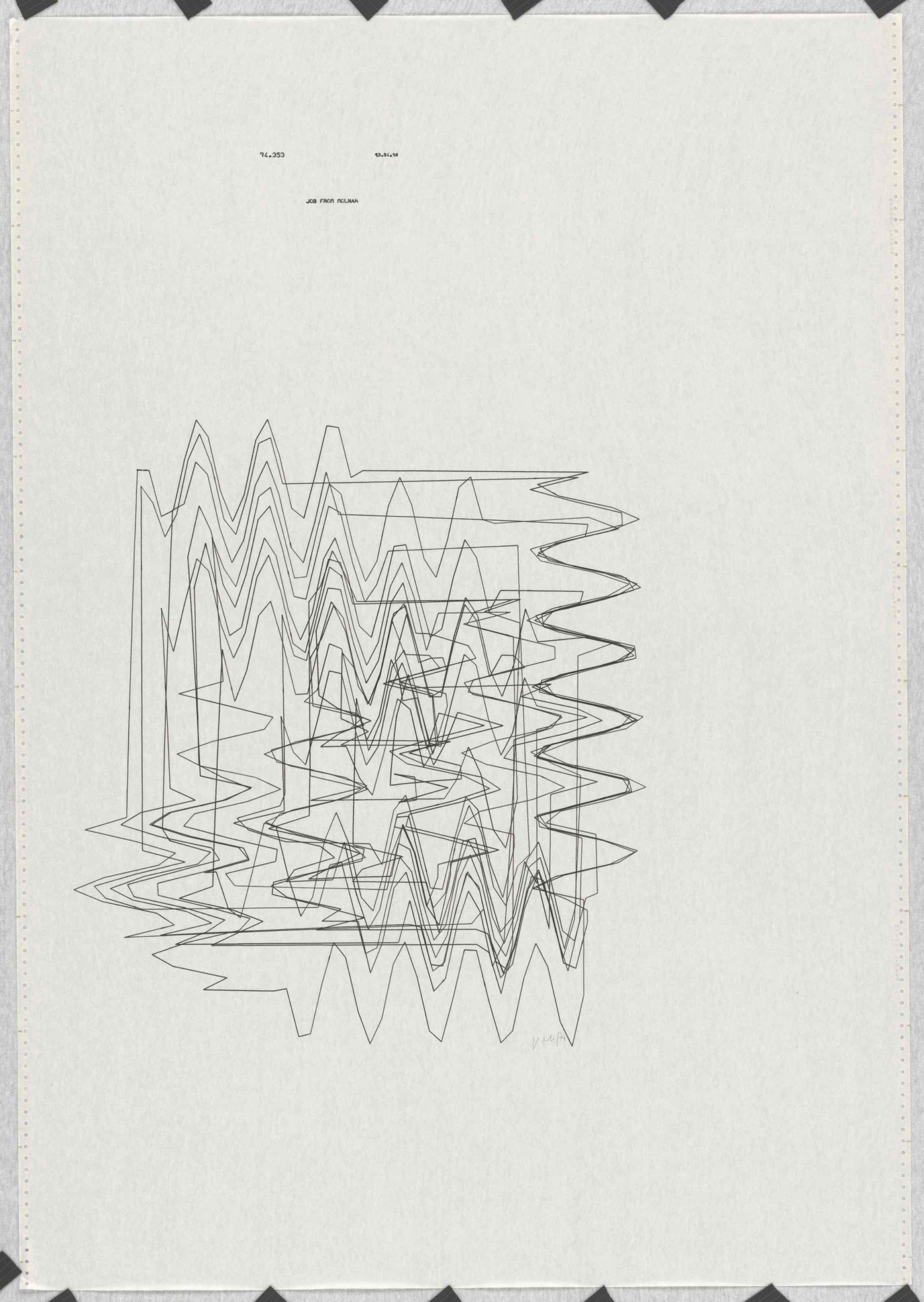 Vera Molnar, Hypertransformationen Serie, Plotterzeichnung, Tinte auf Papier, 45 x 50 cm, 1974, Preis: 15 000 Euro