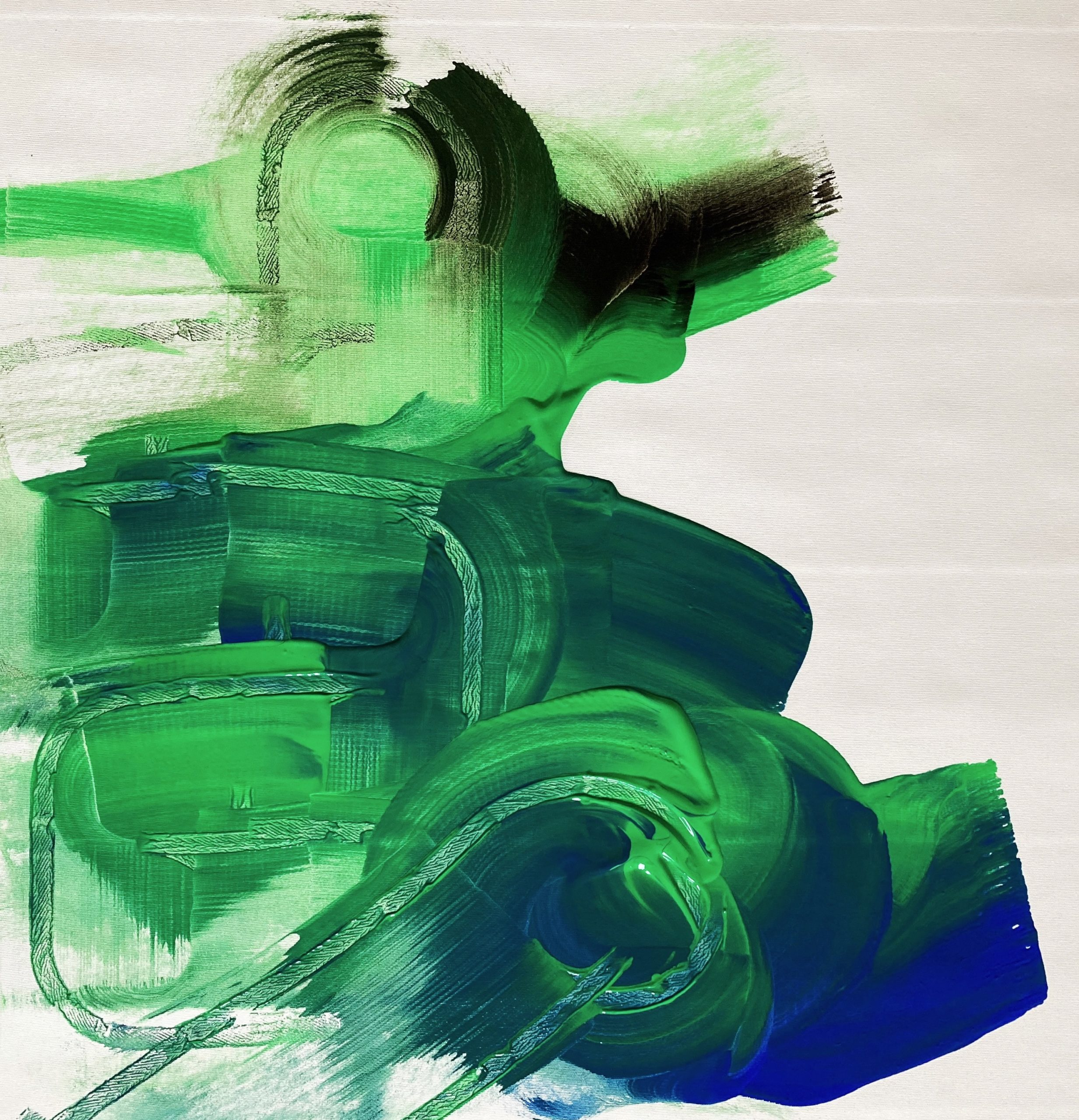 Addie Wagenknecht, All Green, green screen paint, hand sanitizer and Xanax with oil medium on canvas, 74 x 70 cm, 2020