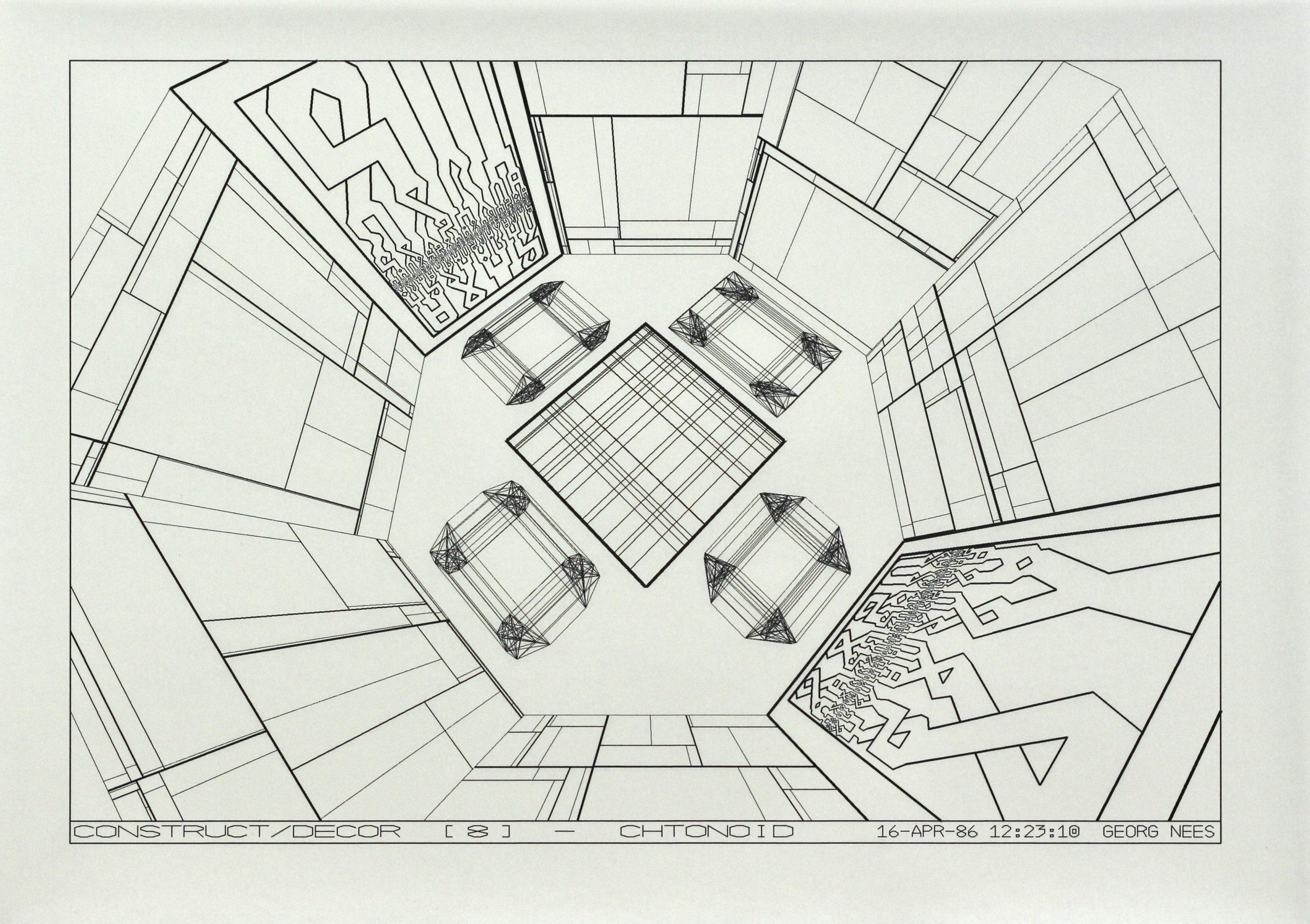 Georg Nees, Construct/Decor [8] Chtonoid, Laserdruck, 25 x 36 cm, 16 Apr 86, signiert and datiert als Teil des Druckes Georg Nees, 6 Exemplare,  Preis: 400 Euro