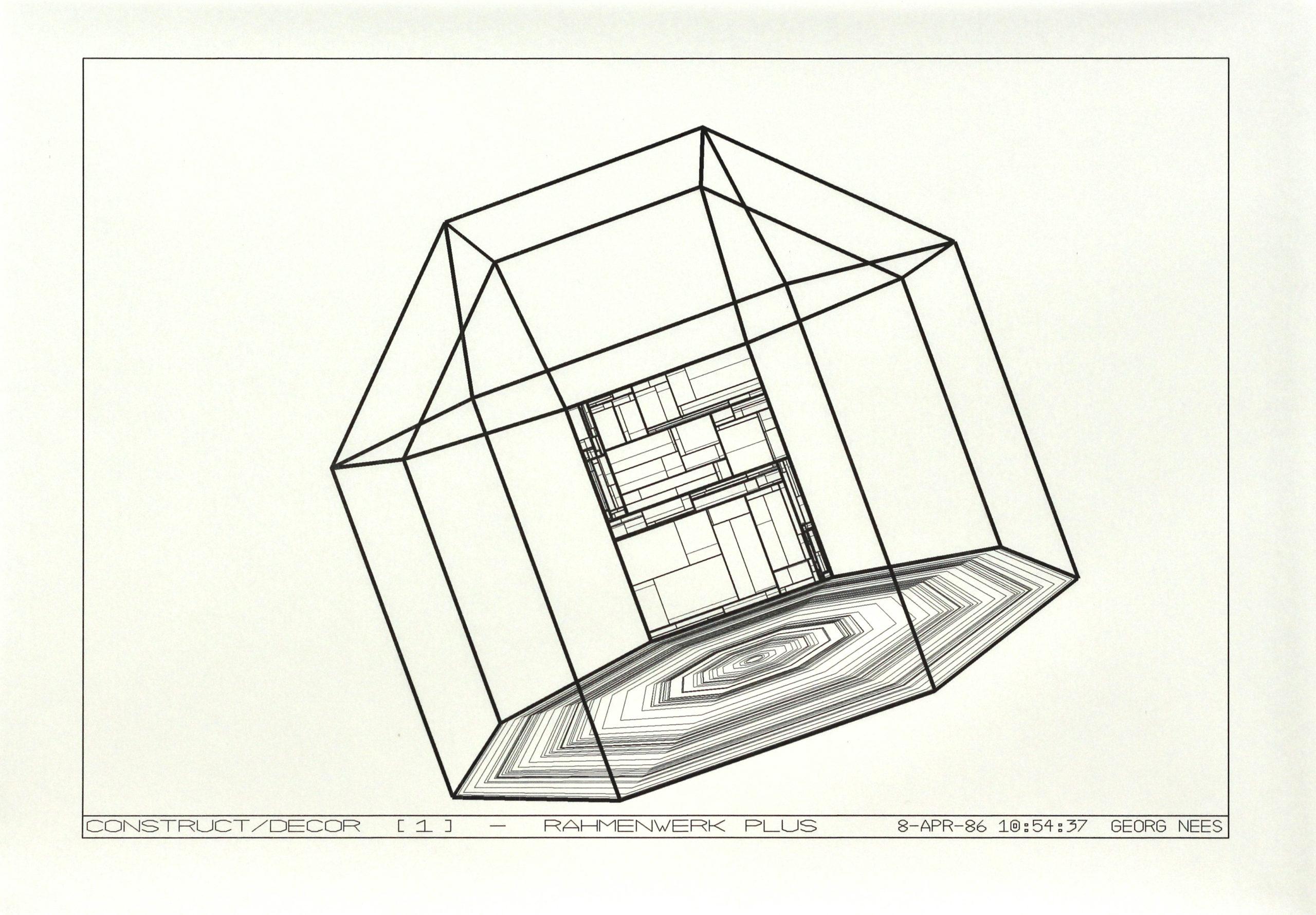 Georg Nees, Construct/Decor [1] Rahmwerk Plus, Laserdruck, 25 x 36 cm, 8 Apr 86, signiert und datiert als Teil des Druckes Georg Nees, Edition von 4, Preis: 500 Euro
