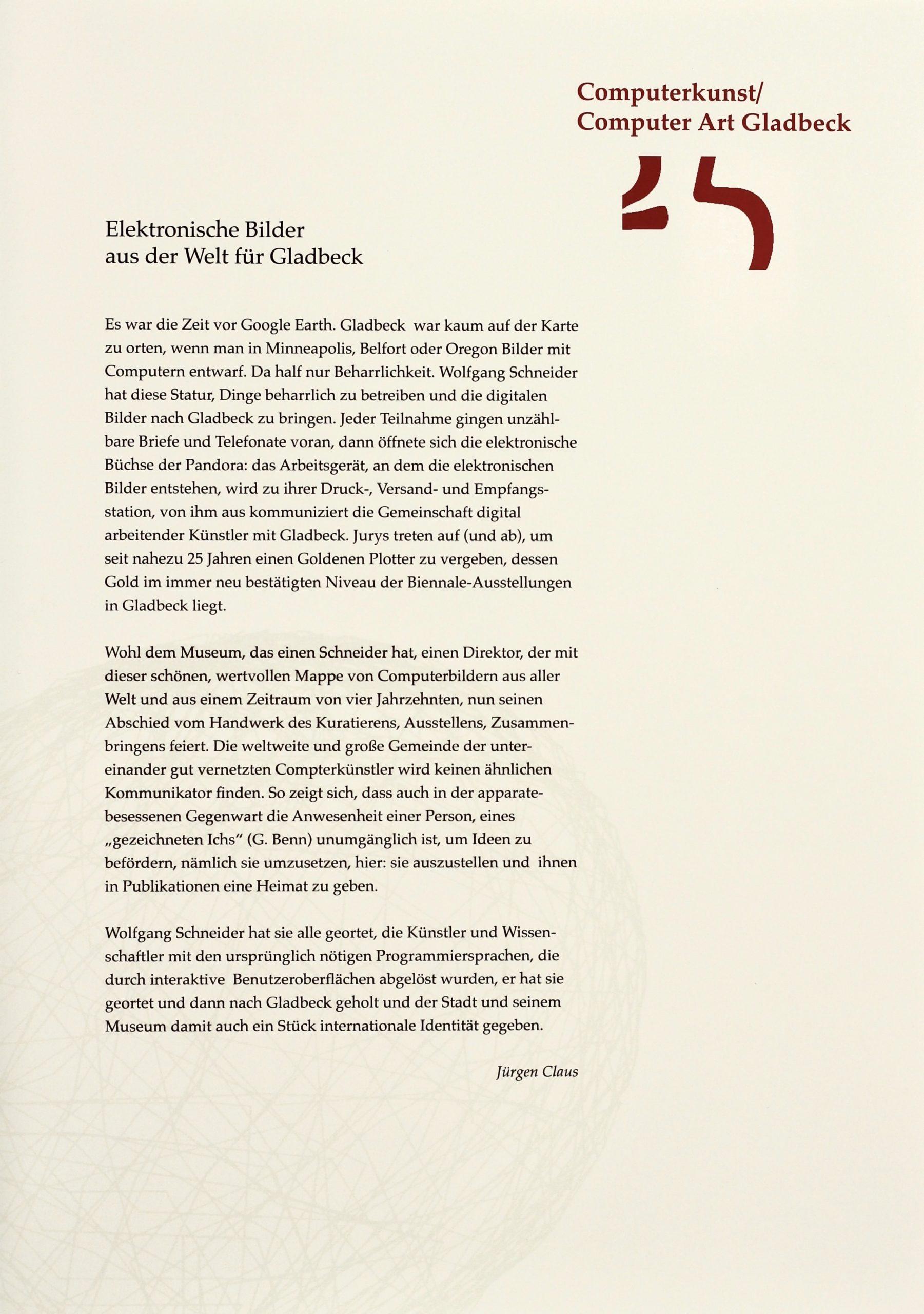 25 Jahre Computerkunst, Mappe Gladbeck, Essay
