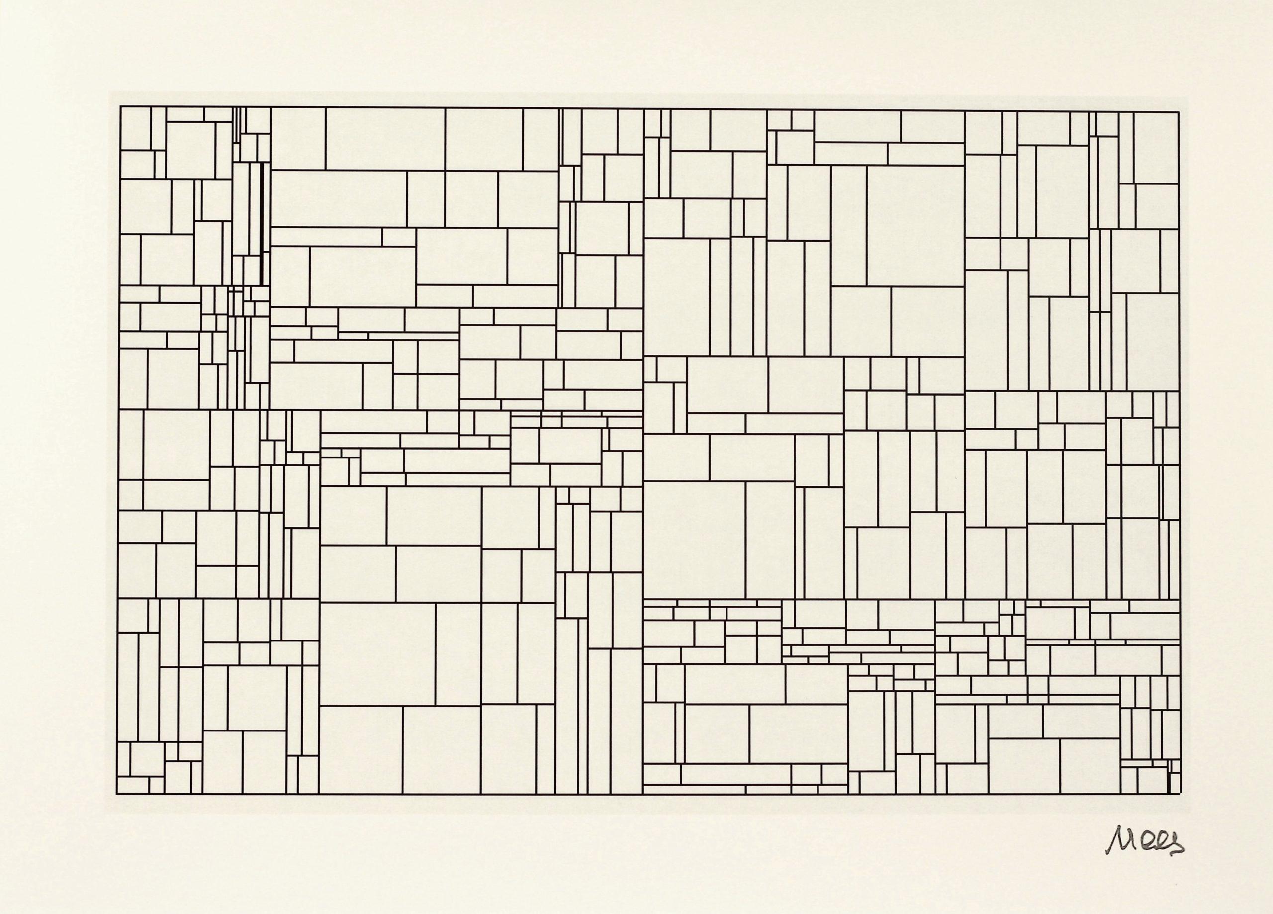 Georg Nees, Midas, Hahnemühle Kunstdruck, 29,6 x 42 cm, Auflage von 50, 1968/2009