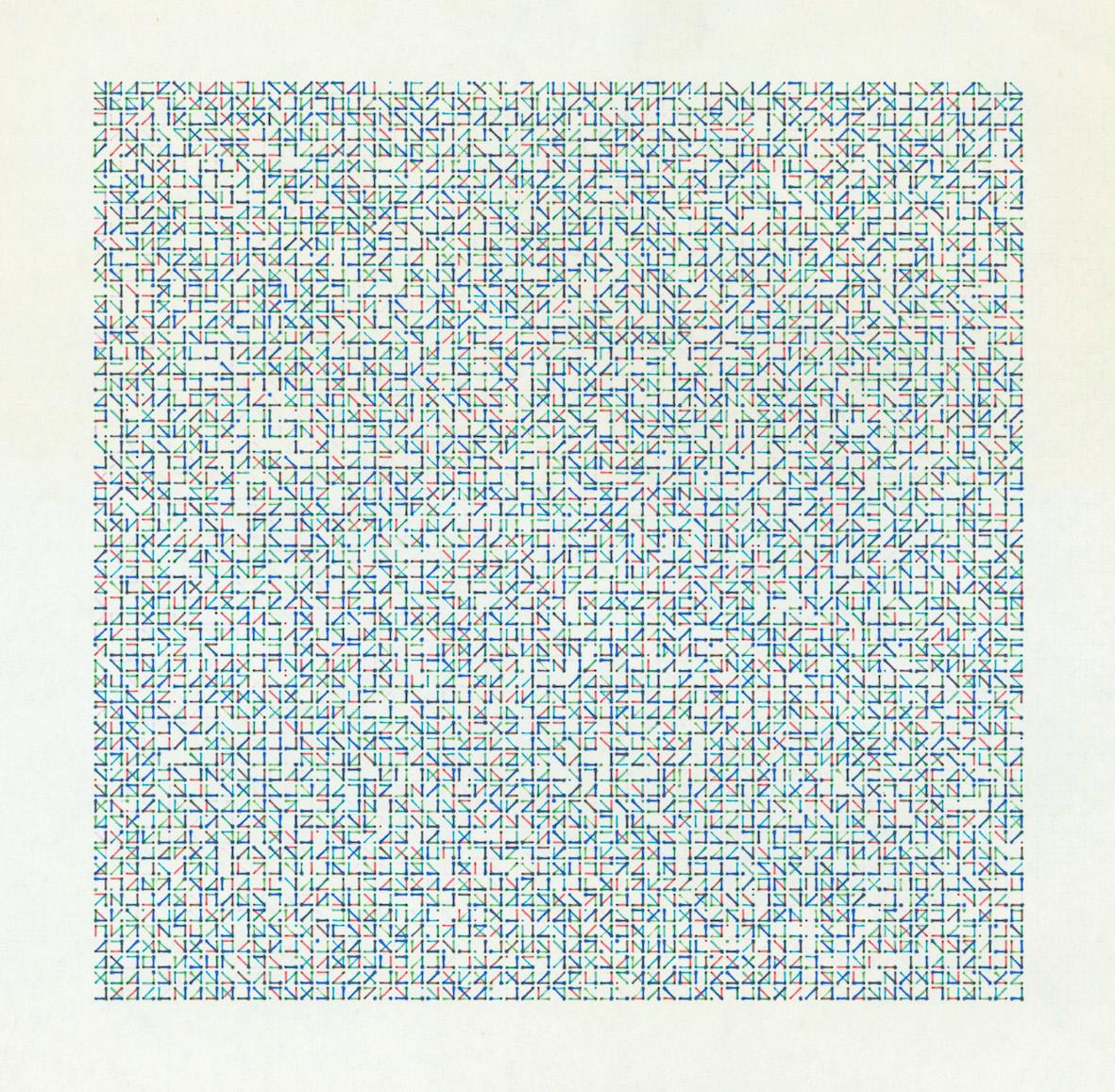Peter Beyls, HP01a, Plotterzeichnung, Tinte auf Papier, 24 × 23,5 cm, 1981