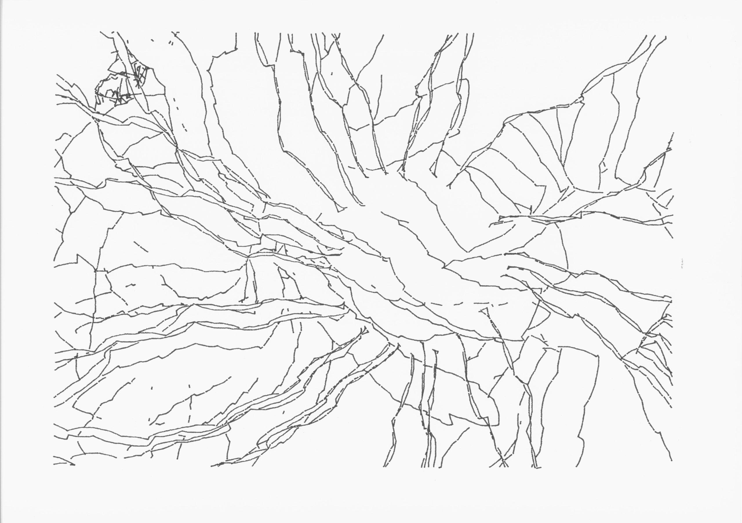 Peter Beyls, RBO, Plotterzeichnung, Tinte auf Papier, 64 x 90 cm, 2002-2012