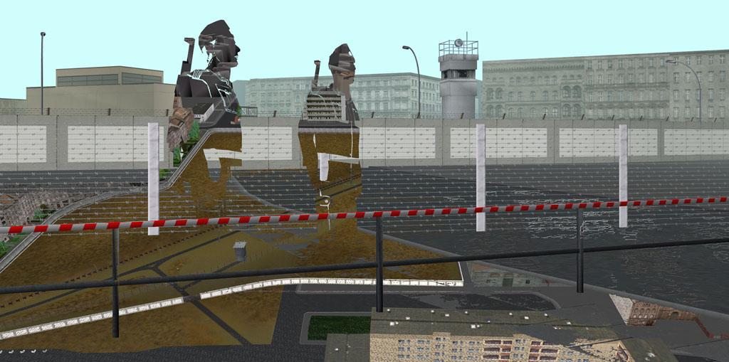 Tamiko Thiel, ReVisioning the Virtual Wall: Border Soldiers, Dresdener Strasse, Giclee-Druck, 140 x 70 cm auf Hahnemühle Baryta Papier, montiert auf Alu-Dibond, 2009