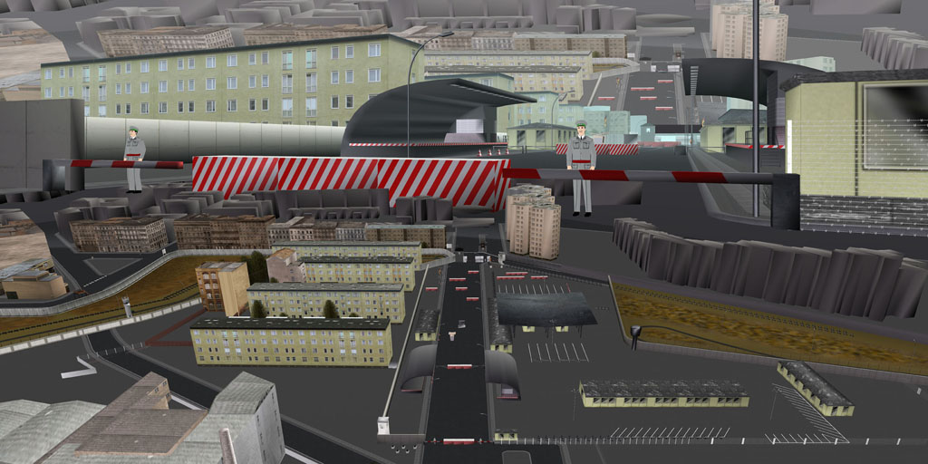 Tamiko Thiel, ReVisioning the Virtual Wall: Border Crossing Heinrich Heine Strasse, East Berlin, Giclee-Druck, 140 x 70 cm auf Hahnemühle Baryta Papier, montiert auf Alu-Dibond, 2009