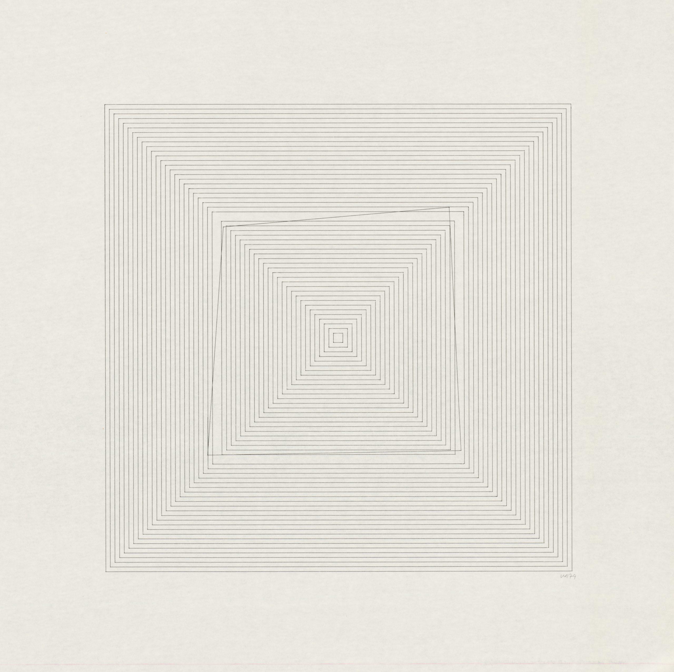 Vera Molnar,  1 Prozent Serie, Plotterzeichnung, Tinte auf Papier, 50 x 50 cm, 1974, Preis: 15 000 Euro