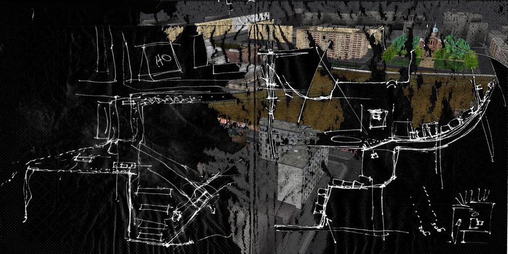 Tamiko Thiel, ReVisioning the Virtual Wall: Death Strip Sketch, Engelbecken, Giclee-Druck, 140 x 70 cm auf Hahnemühle Baryta Papier, montiert auf Alu-Dibond, 2009
