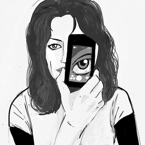 Carla Gannis, Selfie Drawing 01, Fine Art Print & Augmented Reality, 40 x 40 cm, 2015