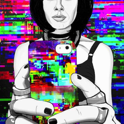 Carla Gannis, Selfie Drawing 11, Fine Art Print & Augmented Reality, 40 x 40 cm, 2015