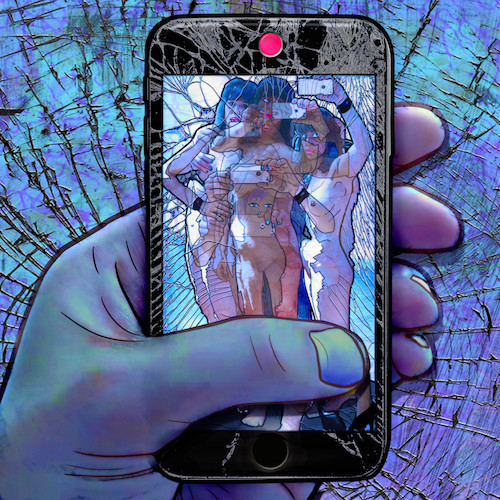 Carla Gannis, Selfie Drawing 30, Fine Art Print & Augmented Reality, 40 x 40 cm, 2015