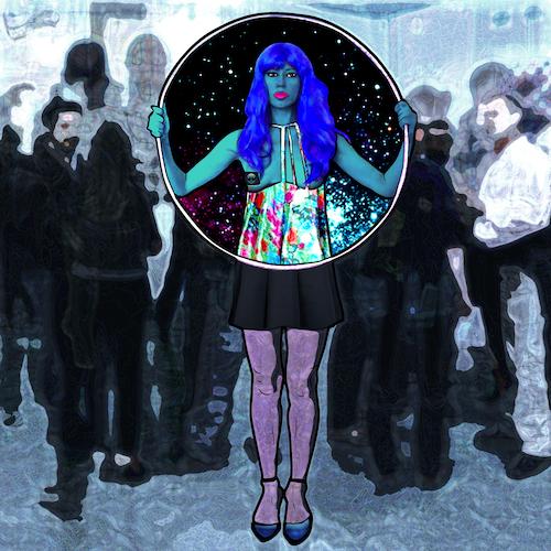 Carla Gannis, Selfie Drawing 40, Fine Art Print & Augmented Reality, 40 x 40 cm, 2015
