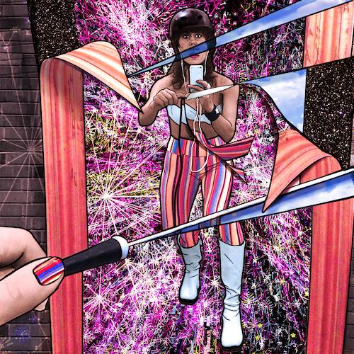 "Carla Gannis, Selfie Drawing 43 ""A Cut Piece"", Fine Art Print & Augmented Reality,40 x 40 cm , 2015"
