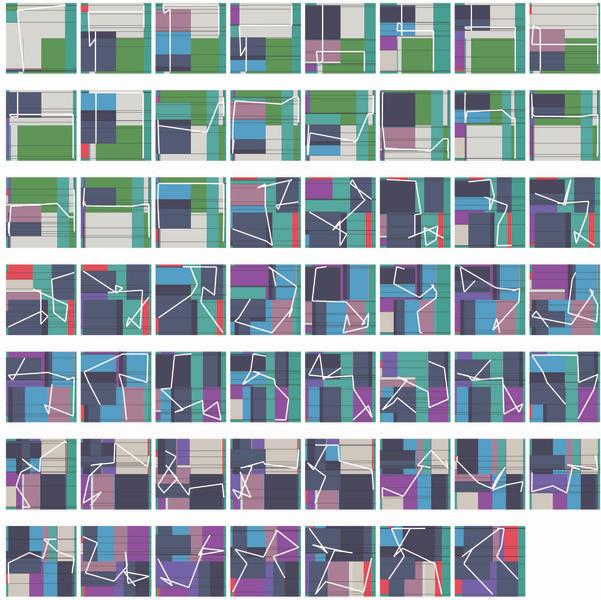 Manfred Mohr, P1600, Pigmenttinte auf Papier, 43 x 43 cm, 2012