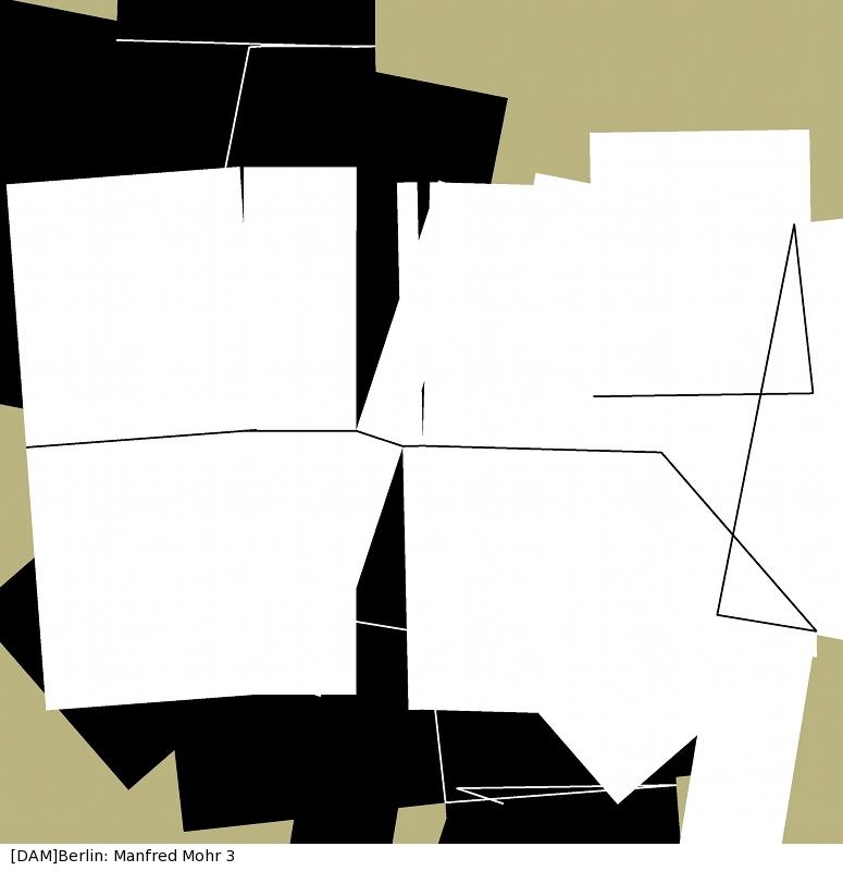 Manfred Mohr, P-1414_4368, Tinte auf Leinwand, 80 x 80 cm, 2010