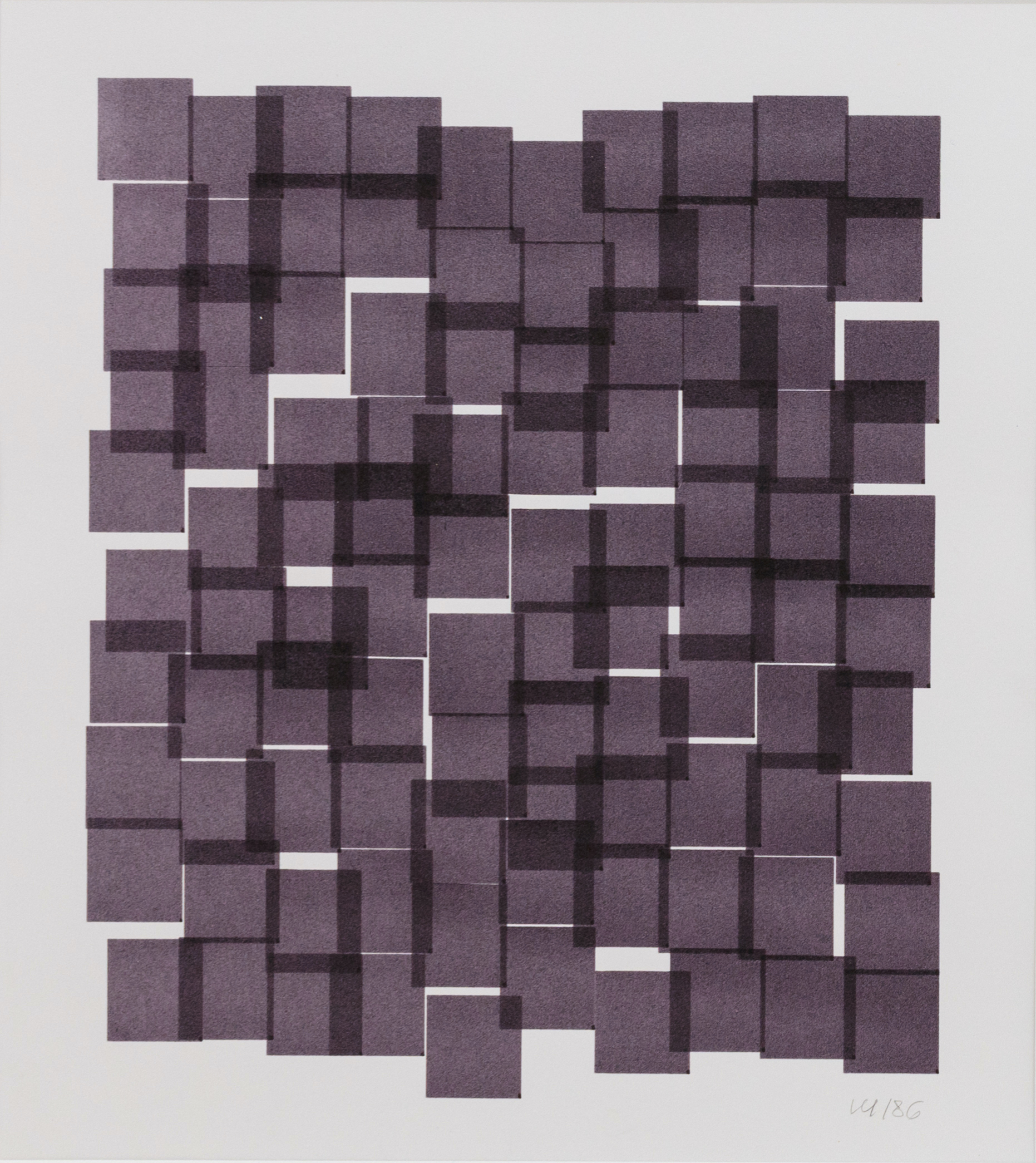 Vera Molnar, 100 Carrés, Plotterzeichnung, Tinte auf Papier, 25 x 22 cm, 1986