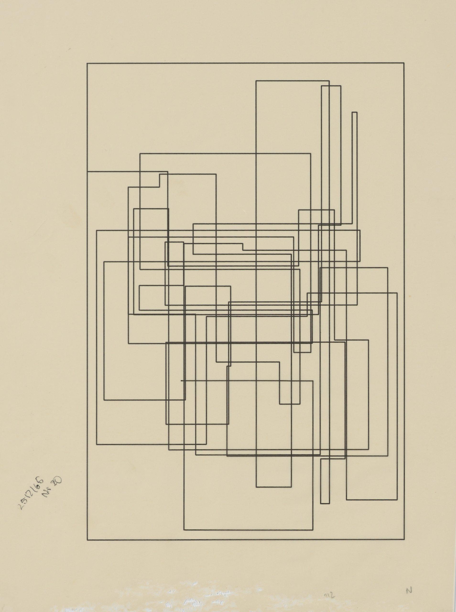 Frieder Nake, Plotterzeichnung, Tinte auf Papier, das Papier ist im unteren Bereich beschädigt, ausserhalb der Zeichnung, 30 x 20 cm, 1965, Preis: 4 000 Euro