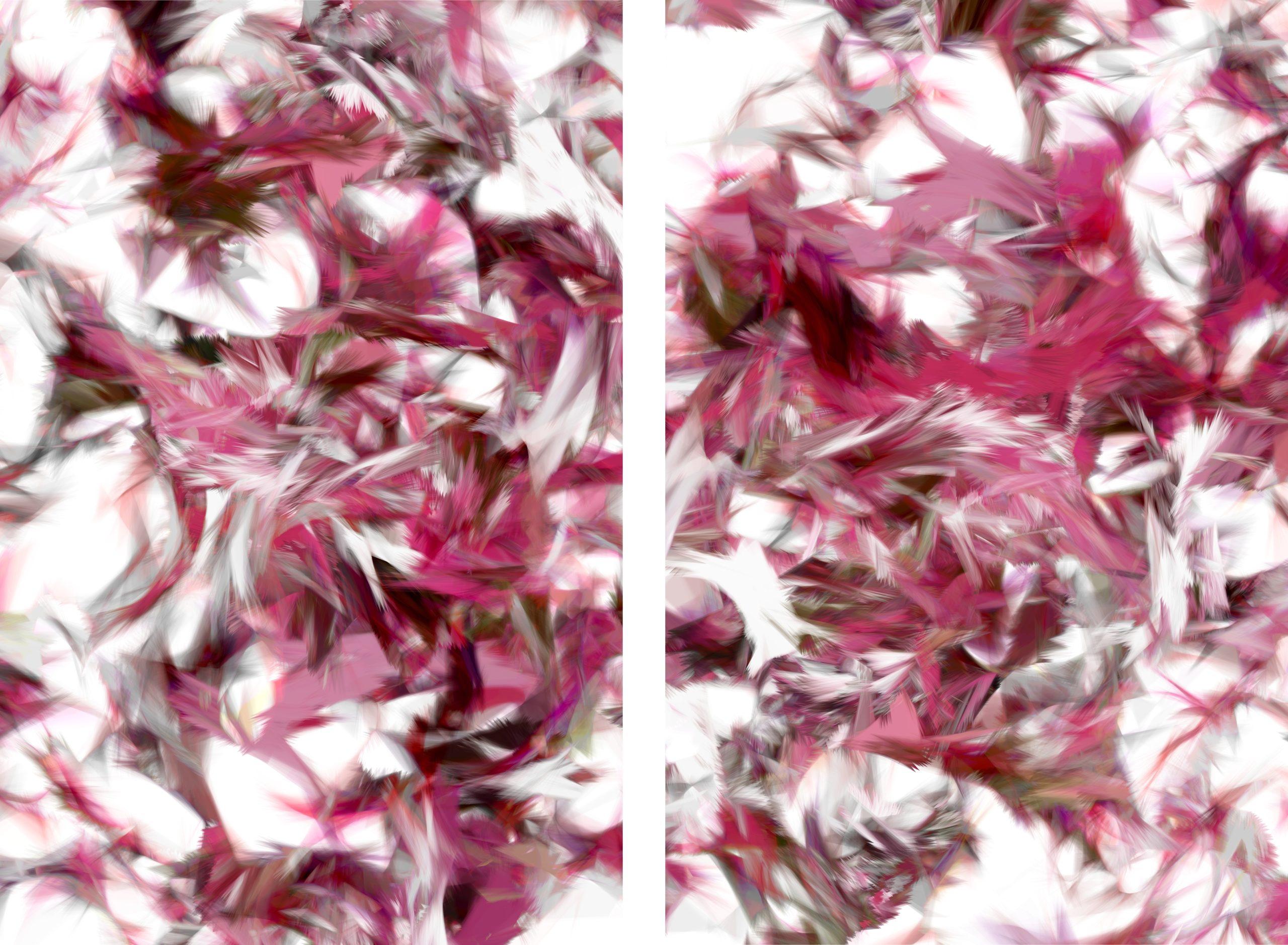 Casey Reas, Process 18 Image B3/4, C-Print auf Aluminium, Diptych, je 45 x 30 cm, 2010