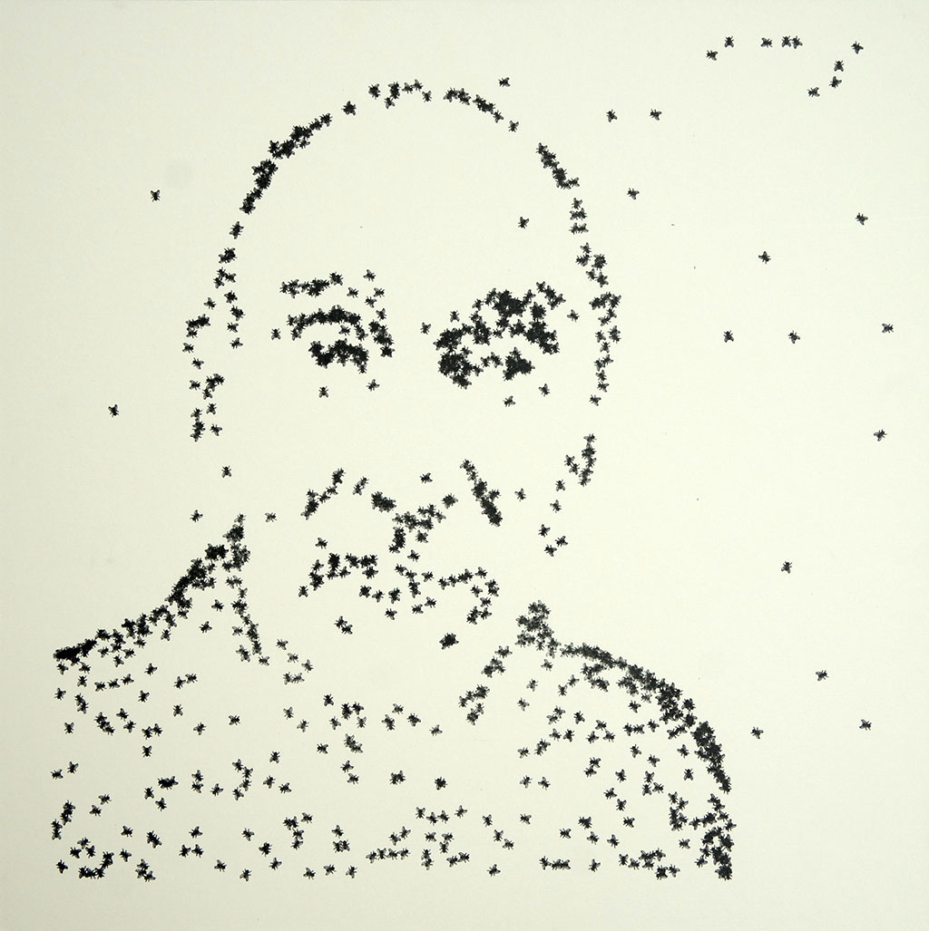 """Sommerer & Mignonneau, Frieder Nake, Portraitserie """"On the Fly"""", Plotterzeichnung, 40 x 40 cm, Auflage von 1 + 1 AP, 2015"""