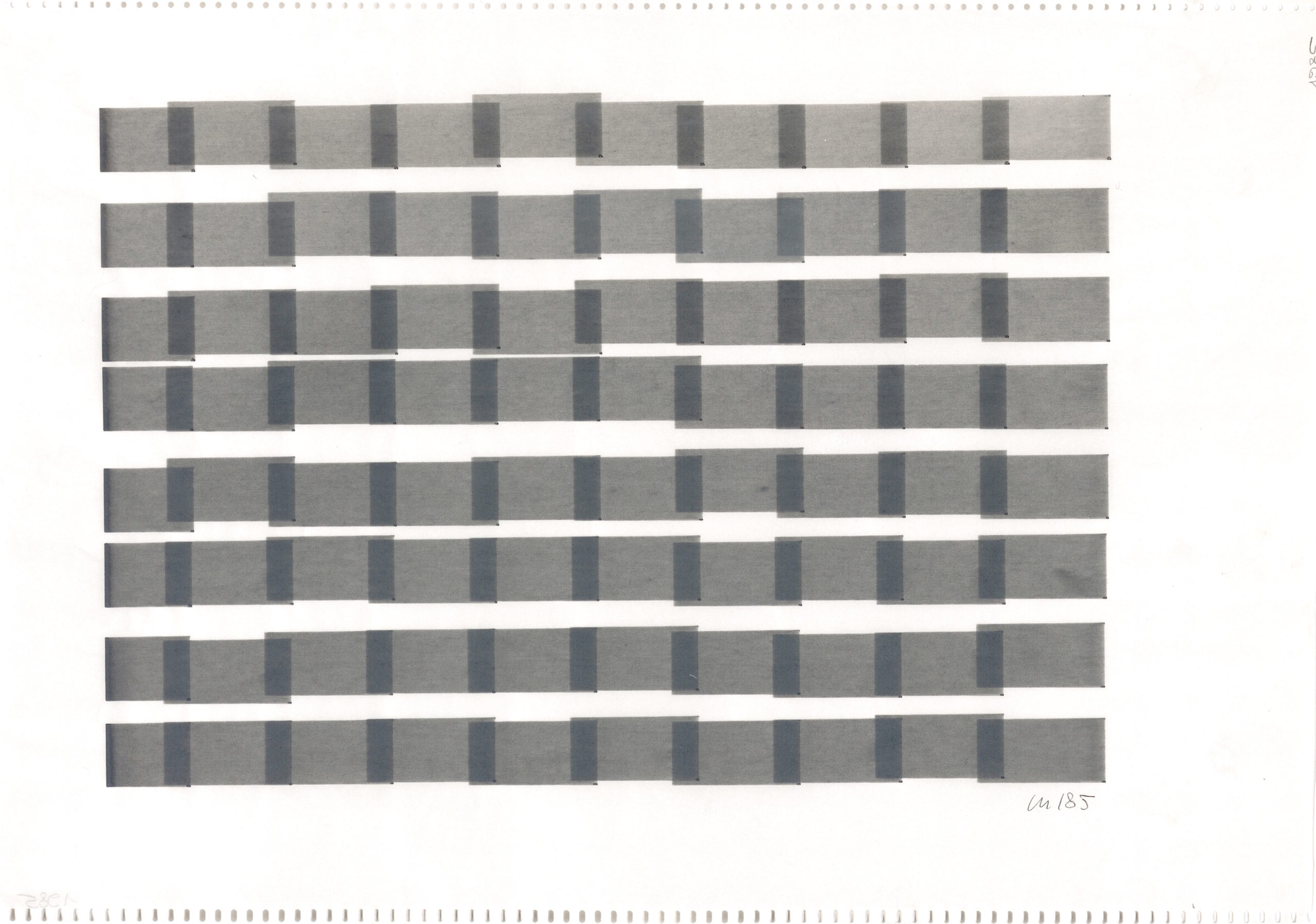 Vera Molnar, 8 Colonnes, plotter drawing, 23 x 32 cm, 1985