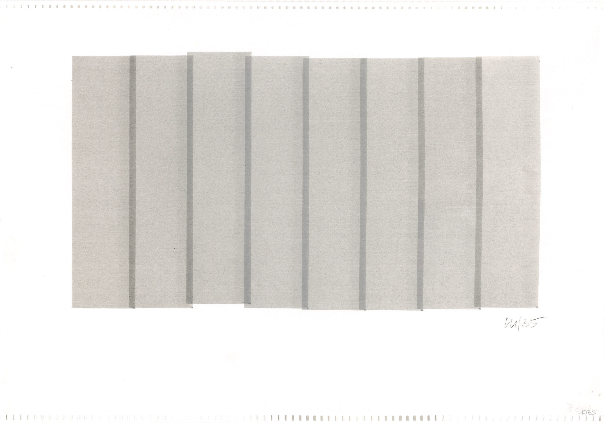 Vera Molnar, 8 Colonnes (vertical), plotter drawing, 19 x 33, 1985