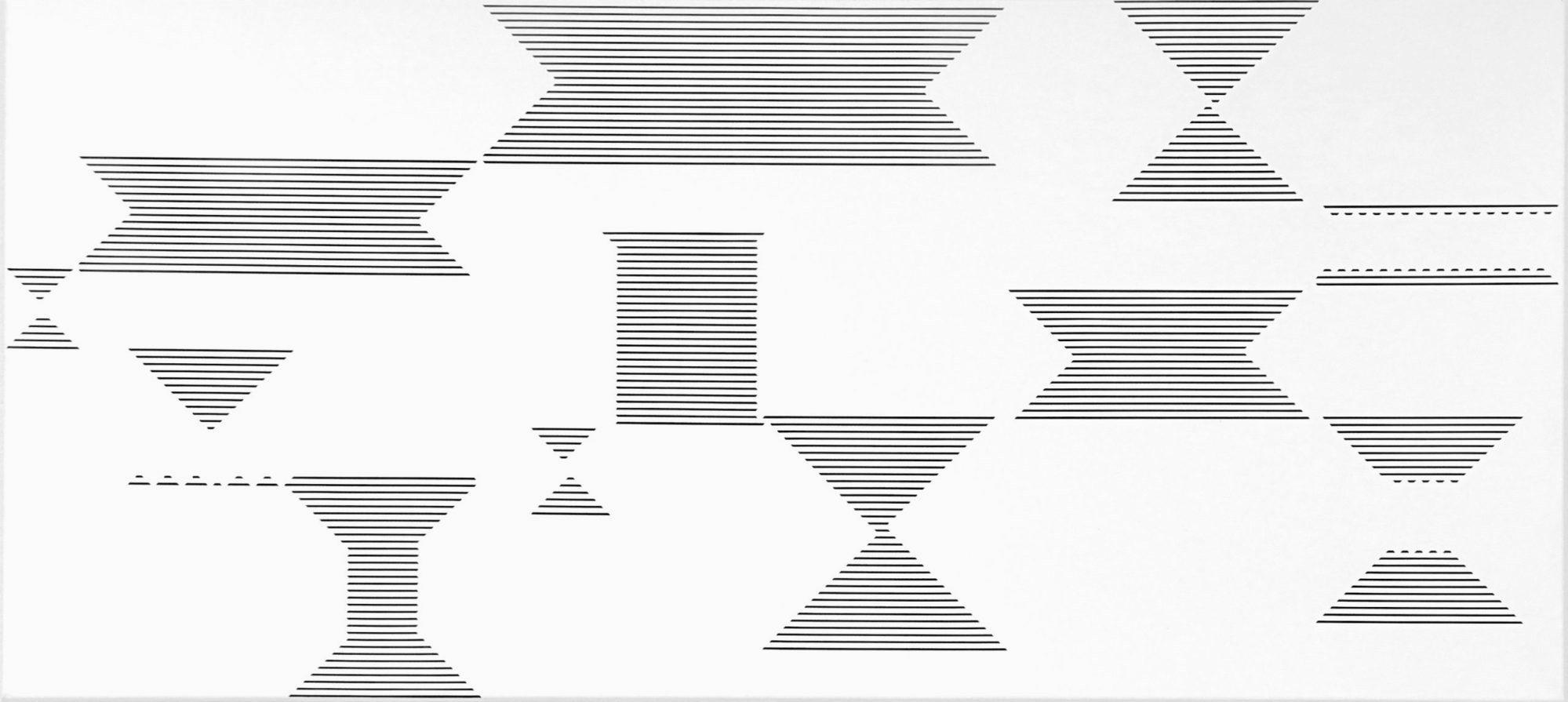 Vera Molnar, Ligne Scindee, Acryl auf Leinwand, 50 x 110 cm, 2014