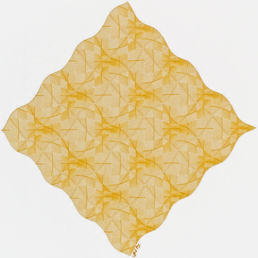 Jean-Pierre Hébert, Magical Chessboard, Chrome Yellow, Plotterzeichnung, Tinte auf Papier, 15 x 15 cm, 1995
