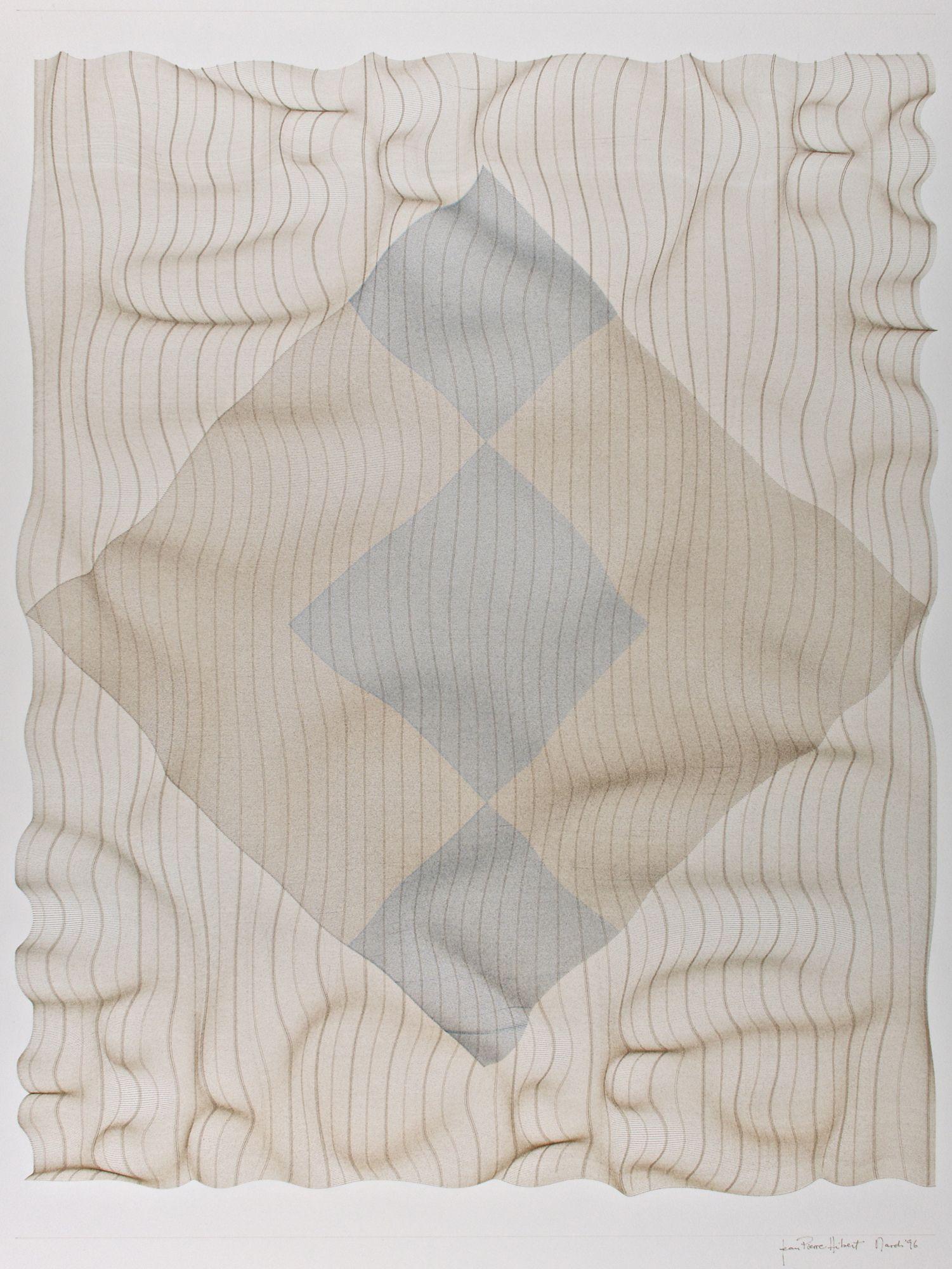 Jean-Pierre Hébert, Warped Grids for Agnes, Plotterzeichnung, Tinte auf Arches Aquarellpapier off-white, 73,5 x 55 cm, 1996