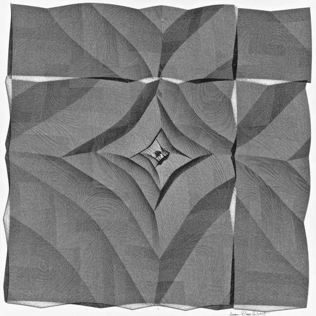 Jean-Pierre Hébert, Not Quite Lozenges, Plotterzeichnung, Tinte auf Ingres-Papier, 36 x 36 cm, 1989