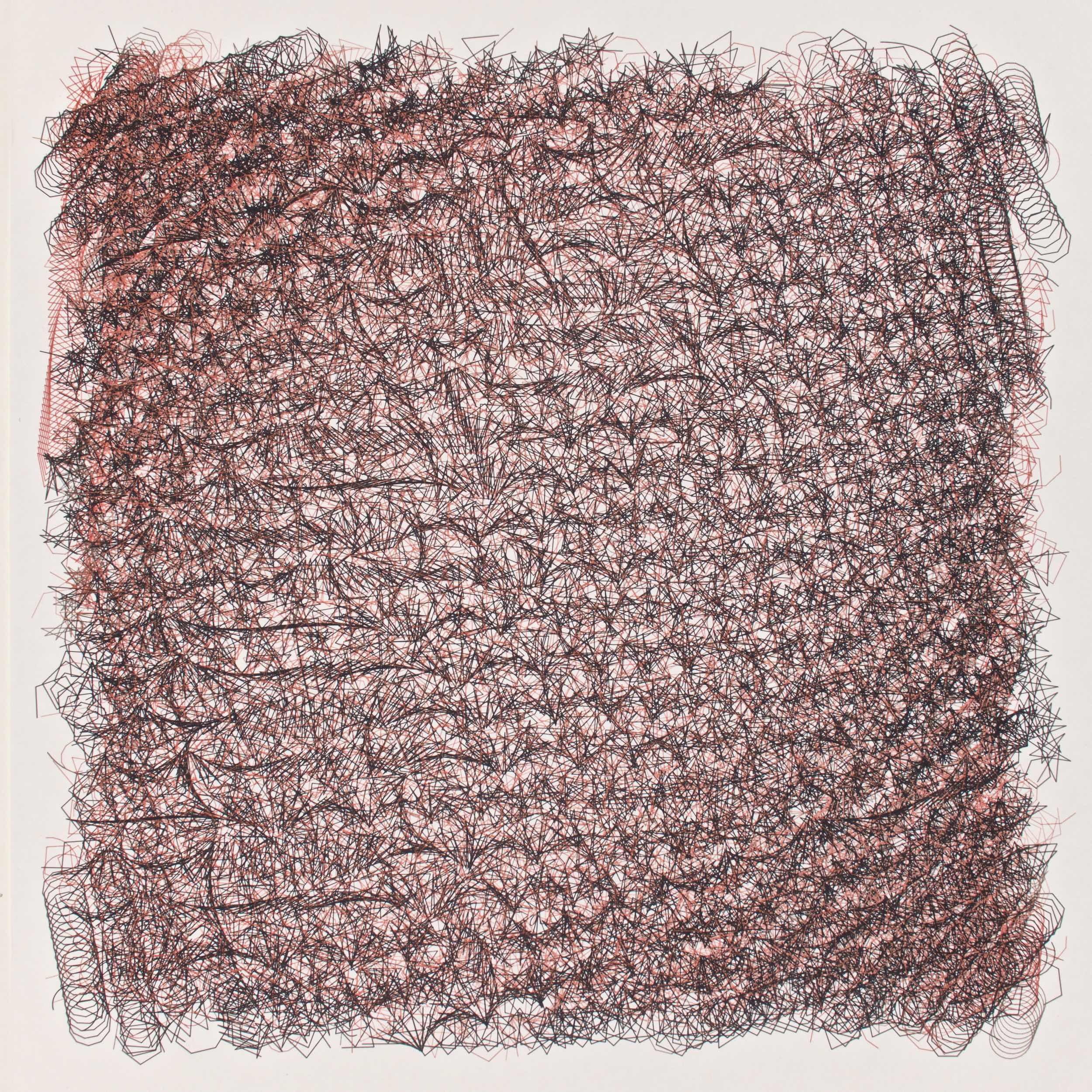 Jean-Pierre Hébert, Reddish Brown Chaos II, Pigmenttinte auf Niyodo Papier, 41 x 41 cm, 2015