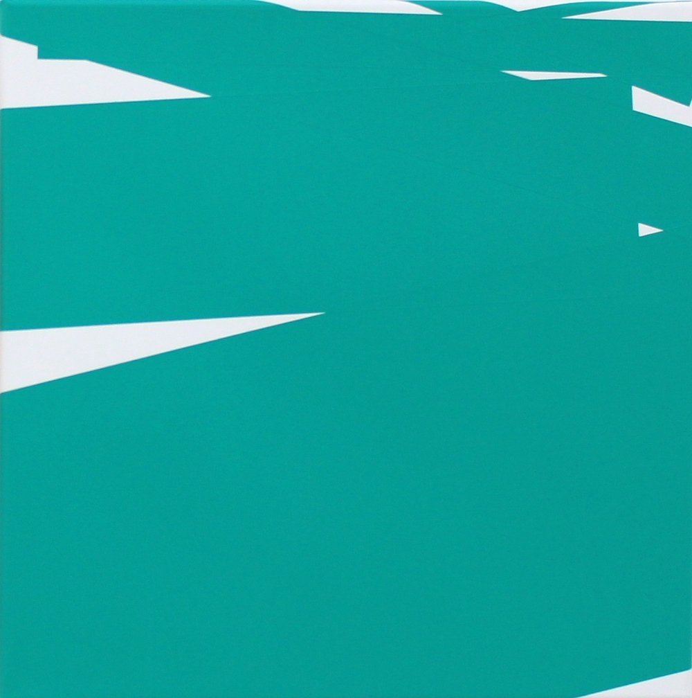 Vera Molnar, Chute De 7 Rectangles (green), Acryl auf Leinwand, 40 x 40 cm, 2013