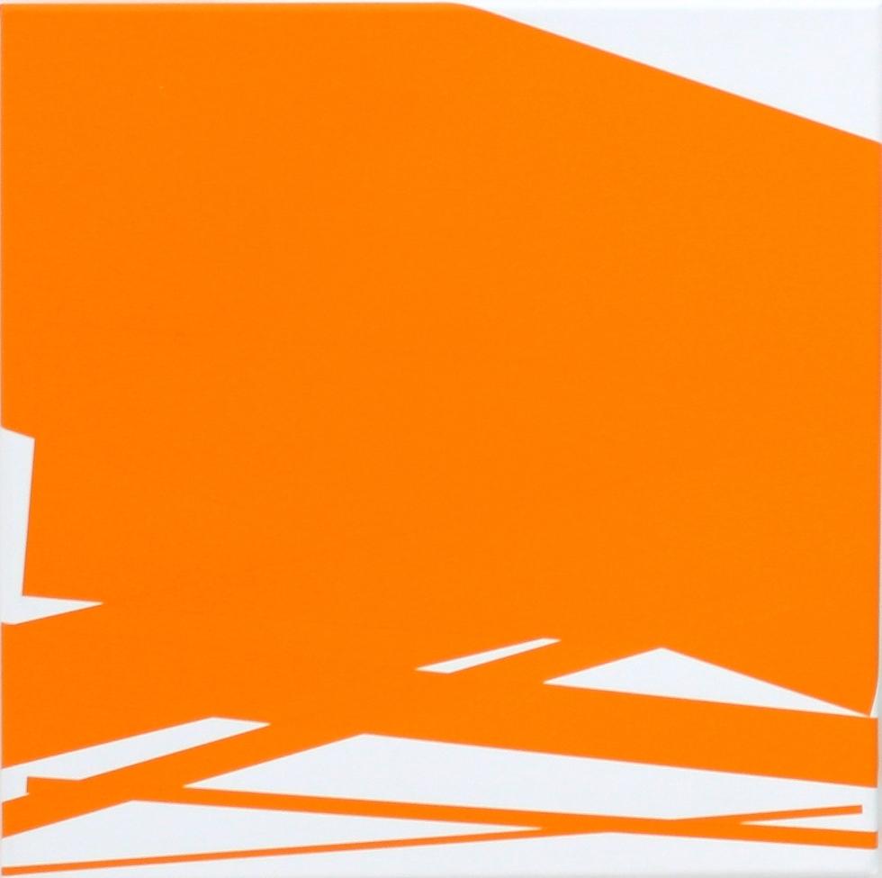 Vera Molnar, Chute De 7 Rectangles (orange), Acryl auf Leinwand, 40 x 40 cm, 2013