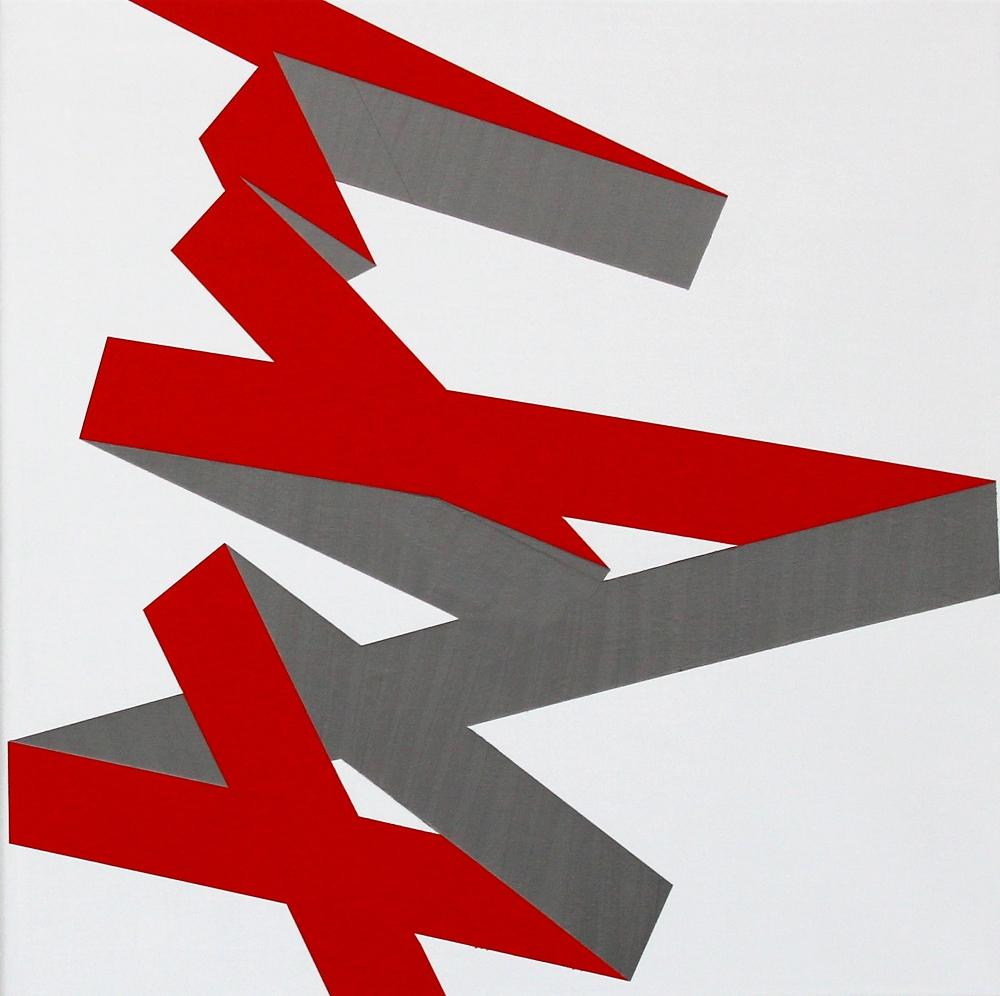 Vera Molnar, Chute B, Acryl auf Leinwand, 50 x 50 cm, 2014