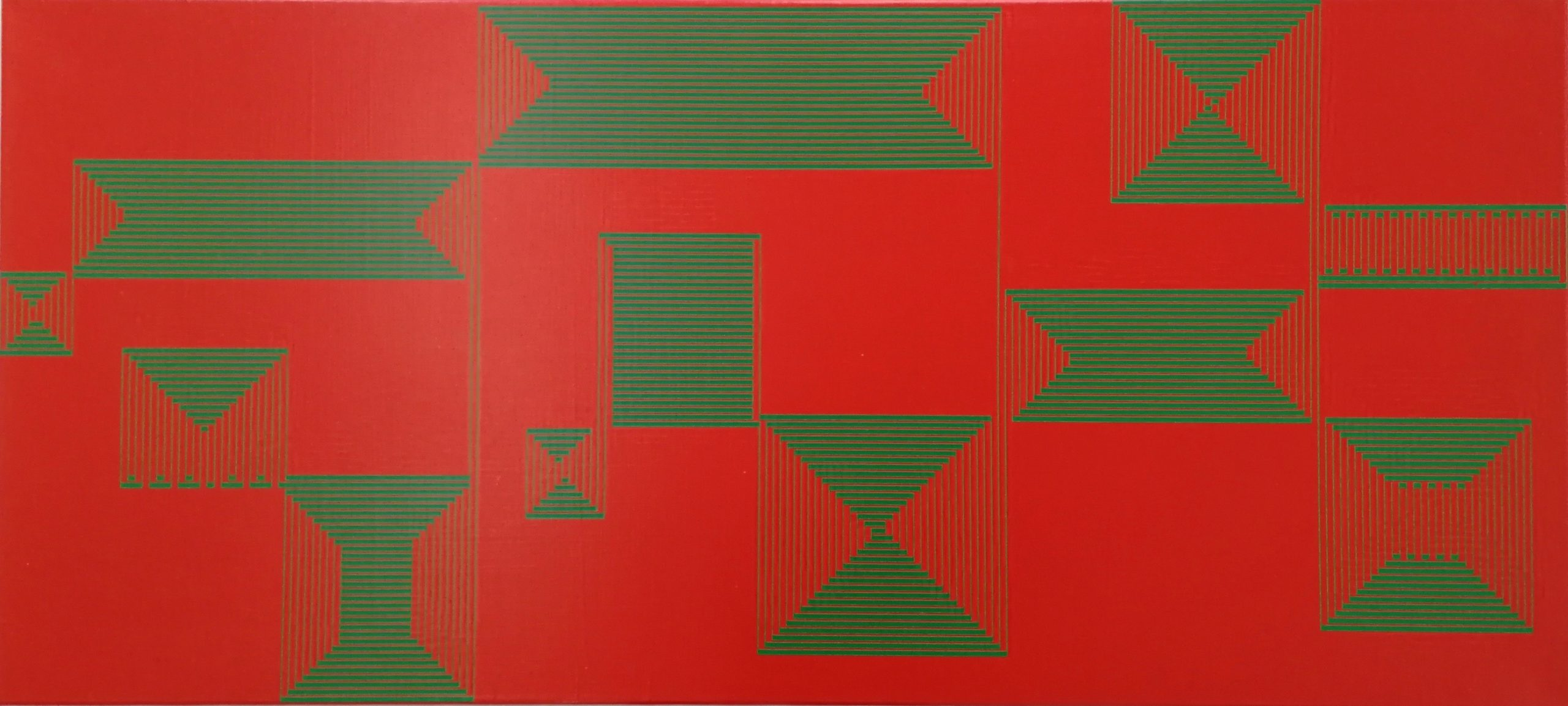 Vera Molnar, Ligne B, Acryl auf Leinwand, 50 x 110 cm, 2015
