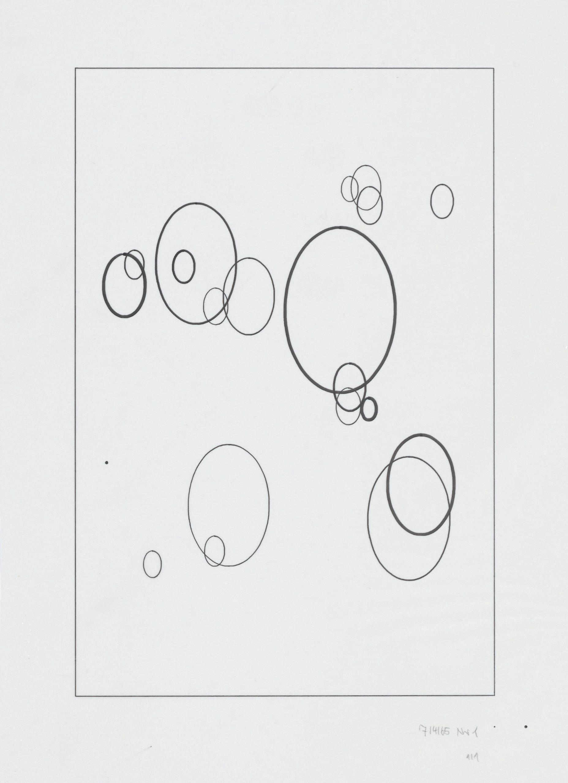 Frieder Nake, Plotterzeichnung, Tinte auf Papier, 30 x 20 cm, 1965, Preis: 4 500 Euro