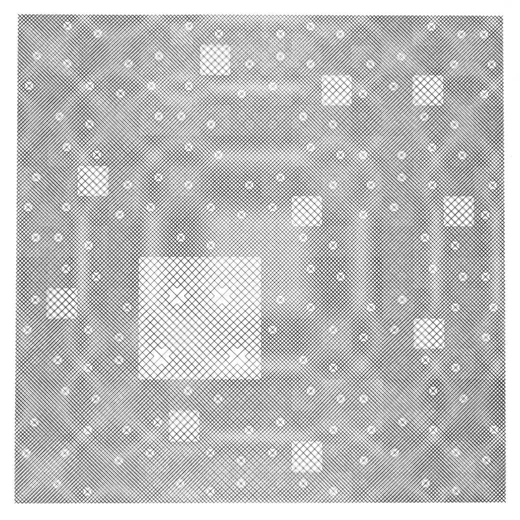 Jean-Pierre Hébert, Fractal Moire Ghost, Plotterzeichnung, Tusche auf Papier, 50 x 50 cm, 1987