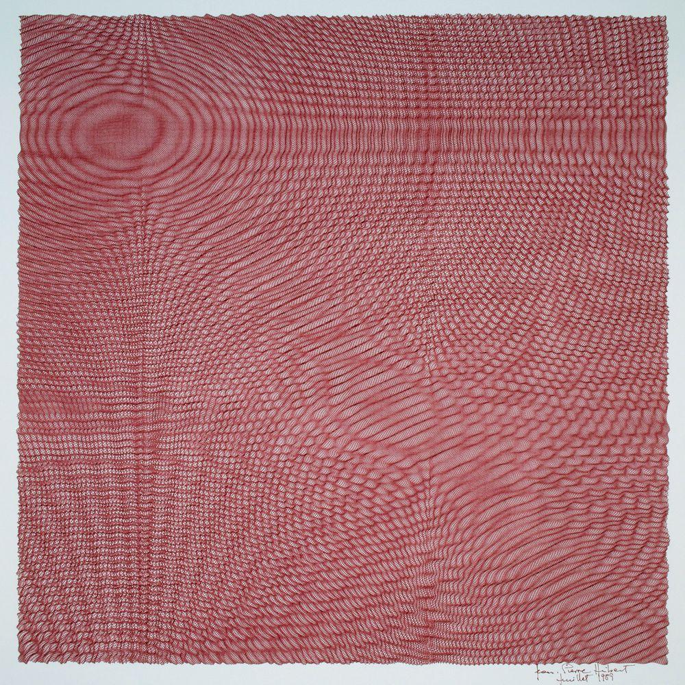 Jean-Pierre Hébert, Red Wave, Plotterzeichnung, Tinte auf Papier, 36 x 36 cm, 1989