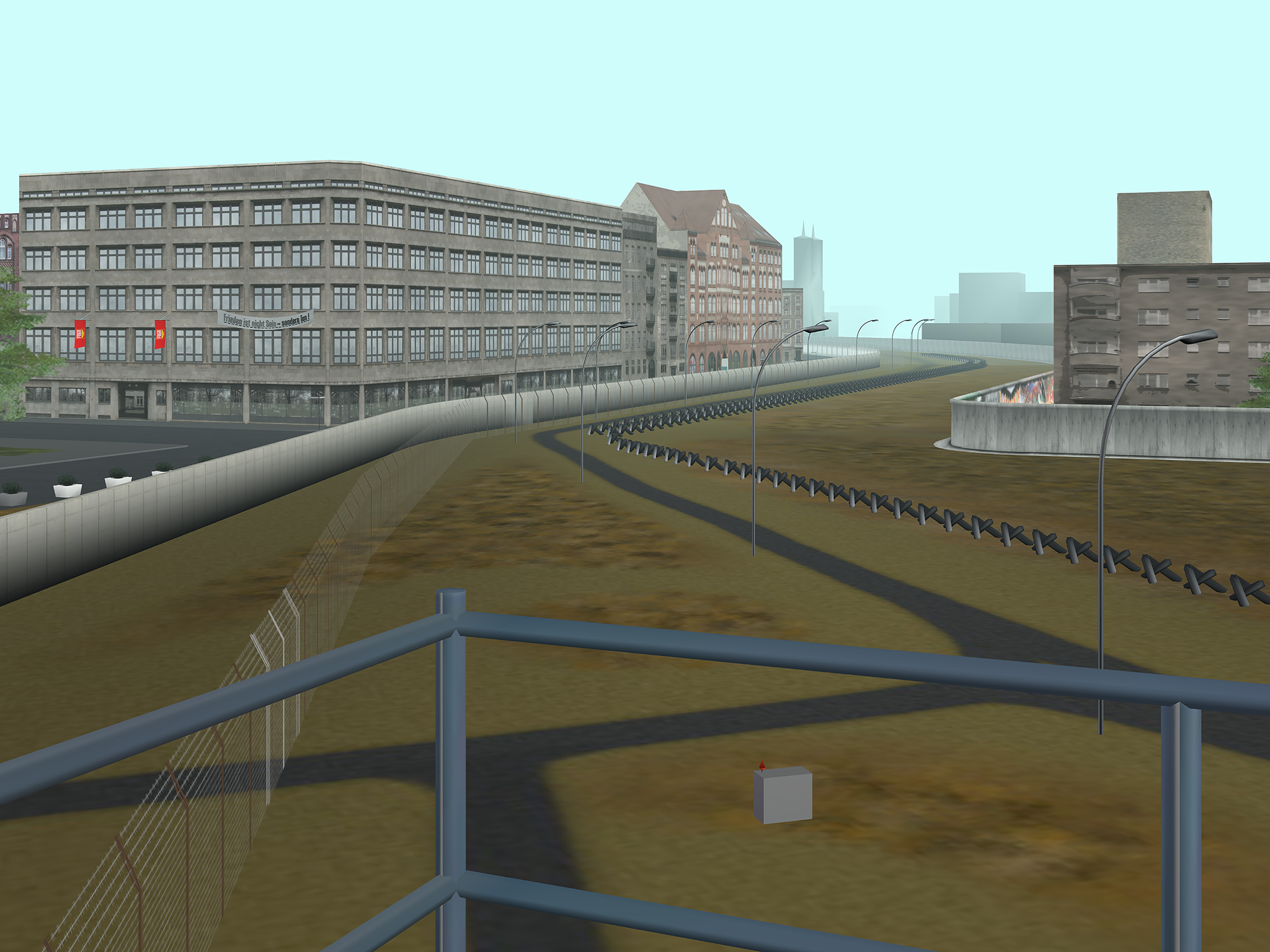 Tamiko Thiel, Virtual Berlin Wall: View from Engelbecken guard tower, looking east onto the Death Strip, 60 x 80 cm on Hahnemühle paper,  ed. 5 + 2 a/p, 2008/2021