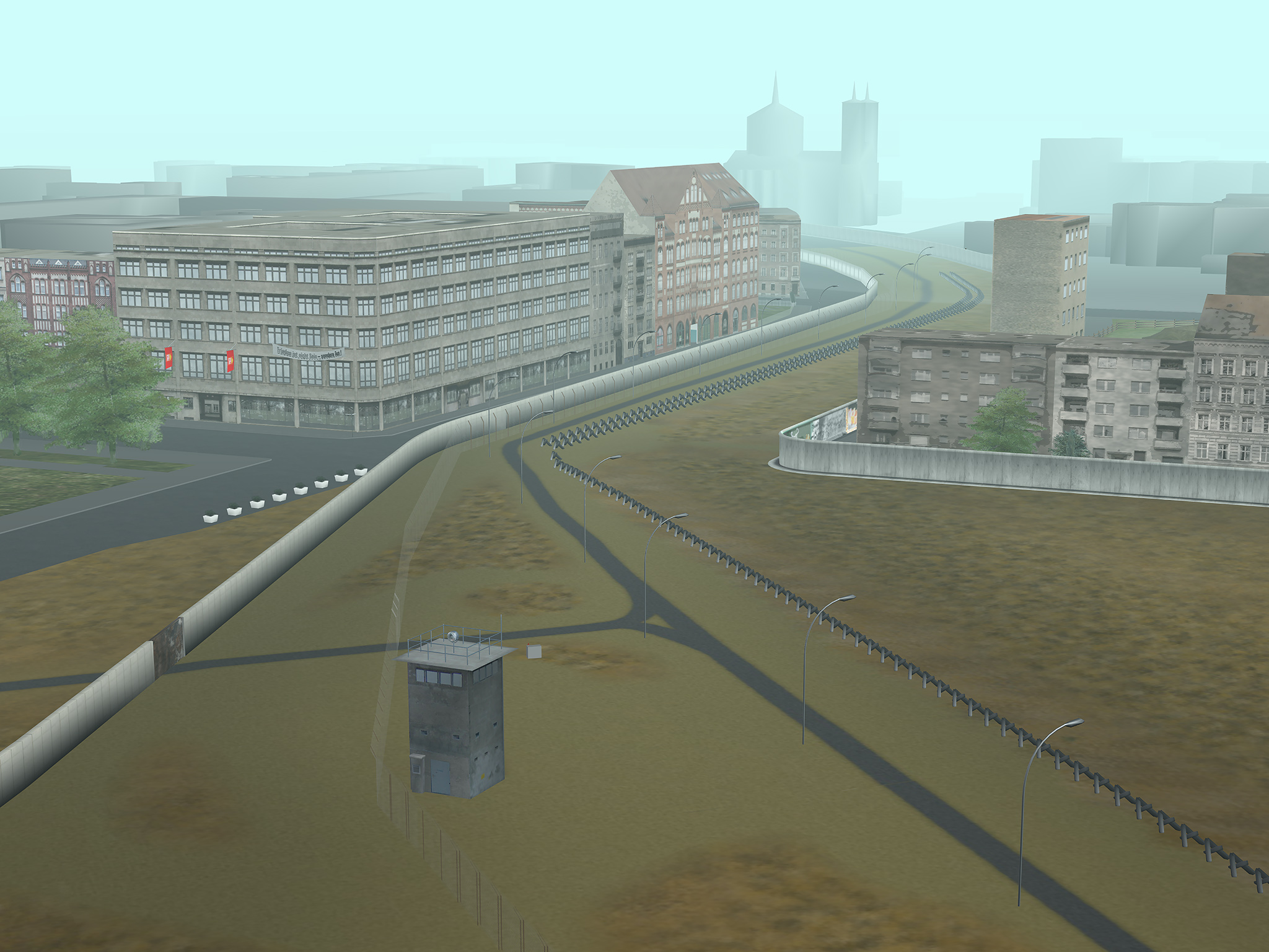 Tamiko Thiel, Virtual Berlin Wall: Bird's eye view of the Engelbecken Death Strip looking N.E., 60 x 80 cm on Hahnemühle paper, ed. 5 + 2 a/p, 2008/2021