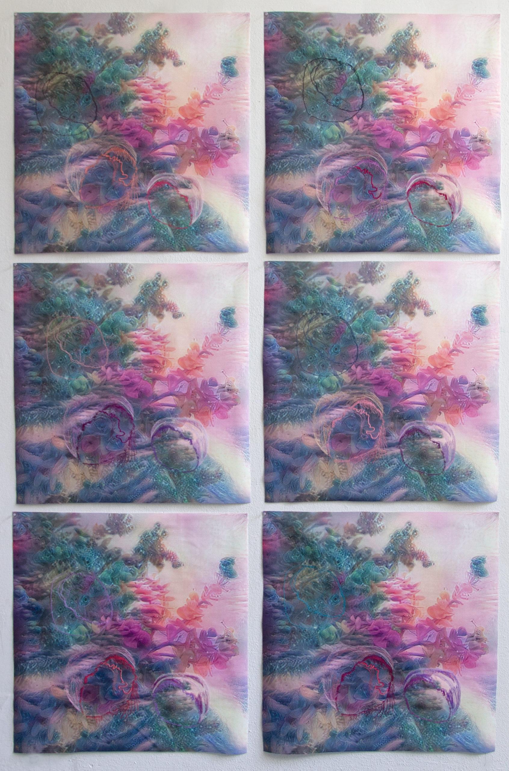 Gretta Louw, In this organism, singular and plural, 6 Variationen, digitale Stickereien, digitaler Druck auf Leinen und Wachs, 61 x 61 cm, 2021