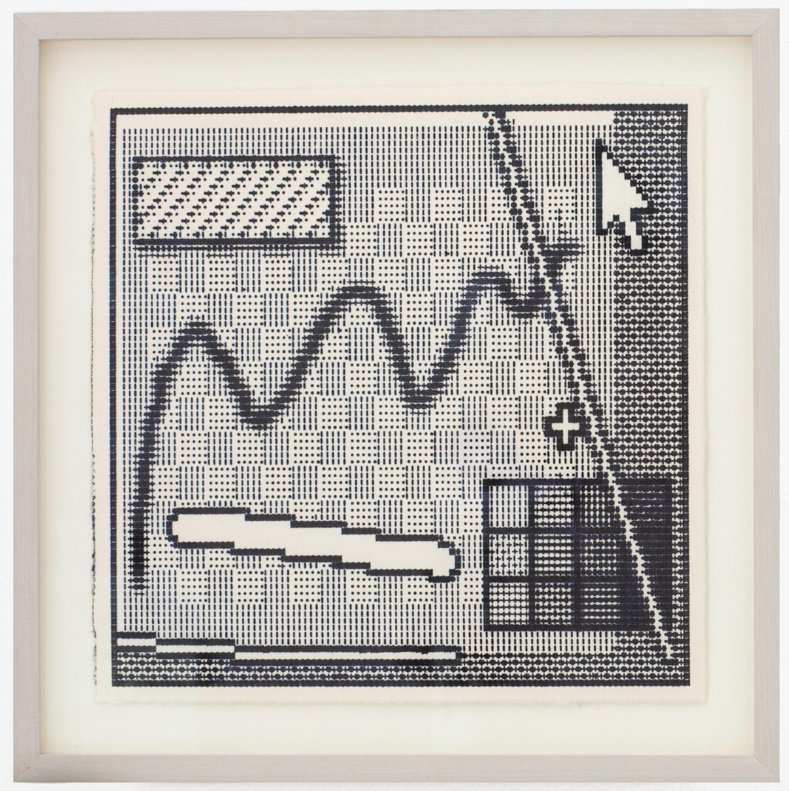 Arno Beck, Interface, typewriter drawing on paper, 22 x 22 cm, 2015